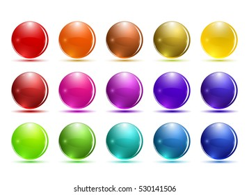 Set of 3d glass button. Glossy icons for web. Vector design round ball, colored sphere
