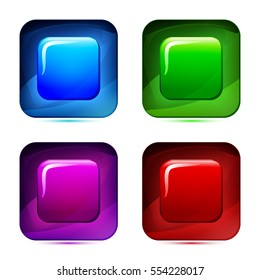 Set of 3d glass button. Glossy icons for web. Vector design square with rounded corner, colored