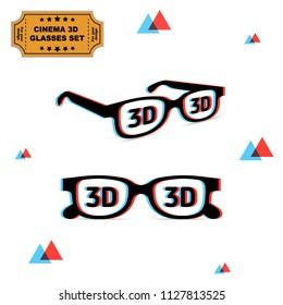 Set of 3d glasses with chromatic aberration and 3d sign on lens, illustration for graphic design. Vector on white background
