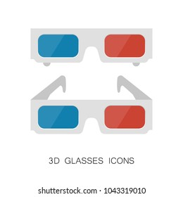 Set of 3D Glasses Icons isolated on White. Vector Illustration. Flat Simple Icon. Cinema Movie Film Watching Design Element.