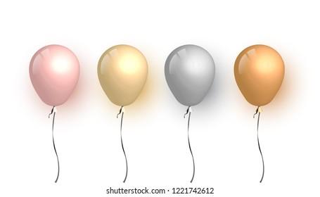 Set of 3d gold balloon, vector illustration.