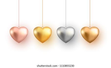 Set of 3d gold heart, vector illustration.
