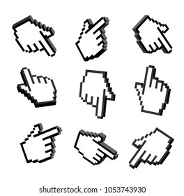 Set of 3D hand pointers. Set 3D pixel hand. 3D hand cursors icons set. Set hand pointers icons 3D isolated illustration on white background. Vector computer cursor