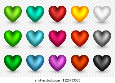Set of 3d hearts in different colors. Decorative elements for holiday backgrounds, greeting, invitation, wedding, Valentines day cards or posters, banners, flyers. Vector illustration.