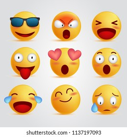 set 3d illustration emoticon unique face, realistic emoji cool expressions, social media reactions vector
