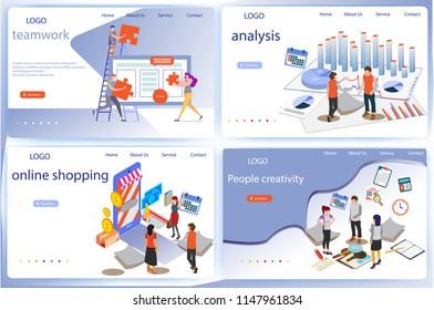 Conjunto de análisis de datos de negocios con información tridimensional, plantilla de página de inicio, gráficos y estadísticas de análisis, Business, administración de flujos de trabajo y situaciones de oficina, Personas que interactúan con un panel