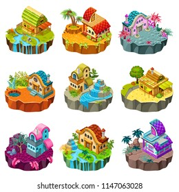 Set 3d isometric buildings on the islands with different climates and decoration for computer games. Straw, wooden, stone сottages and elements landscape design. Isolated vector cartoon illustration.
