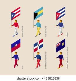 Set of 3d isometric people with flags of Caribbean countries. Standard bearers infographic - Cuba, Dominican Republic, Haiti, Bahamas, Puerto Rico, Turks and Caicos Islands.