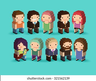 Set of 3d isometric pixel art cartoon characters with office people, guy with guitar, bearded guy and other people
