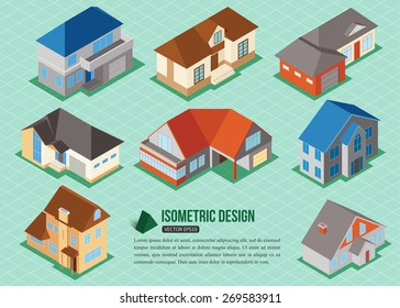 Set of 3d isometric private house icons for map building. Real estate concept. Vector illustration.