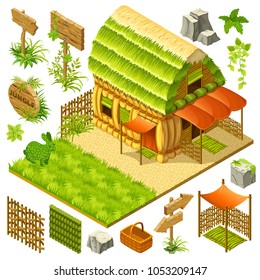 Set 3d isometric straw cottage with wicker fence and elements for the landscape for computer games. Vector cartoon illustration.