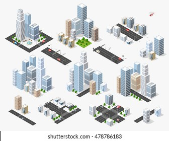 Set 3d isometric three-dimensional city with houses, skyscrapers, buildings and streets with traffic. Top view of urban infrastructure for the creation and design
