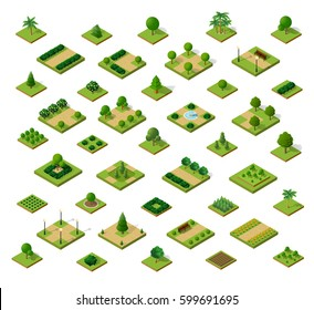 Set of 3D isometric urban parks. City natural ecological landscapes of town infrastructure. Trees lawns garden paths and benches of dimensional kit