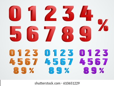 set of 3D numbers from 0 to 9 and a percentage sign. Templates of red, blue and purple. Vector illustration