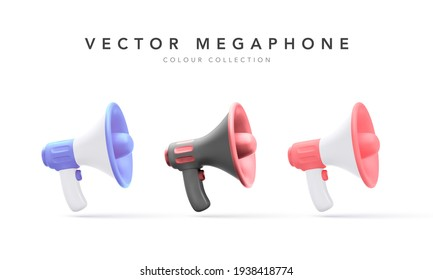 Set of 3d plastic megaphones with shadow isolated on white background. Vector illustration