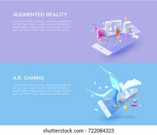 a set of 3d polygon illustration concept for augmented reality mobile application that let's you know about product detail before buying,augmented gaming can make the dragon come to the reality world.