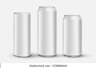 set of 3d realistic aluminium cans isolated on white backrground, beer metal cans mock ups