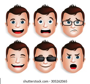 Set of 3D Realistic Handsome Man Head with Different Facial Expressions for Avatar. Isolated in White Background Editable Vector Illustration