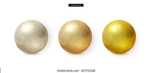 Set of 3d realistic metal balls. Gold, silver, brass. Elements for design. Vector illustration of EPS10