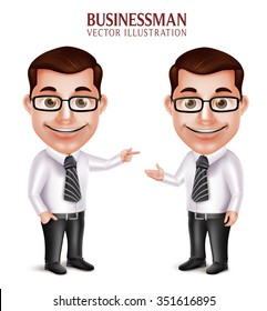 Set of 3D Realistic Professional Business Man Character Pointing and Presenting Isolated in White Background. Vector Illustration