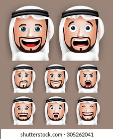 Set of 3D Realistic Saudi Arab Man Head with Different Facial Expressions Wearing Thobe Avatar. Editable Vector Illustration
