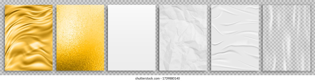 Set 3d realistic textures gold fabric, silver foil, white crumpled paper, transparent plastic film with shadows – stock vector