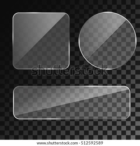 24fdd512208 Set of 3d realistic transparent glass buttons  square with round corners  ans circle. Vector