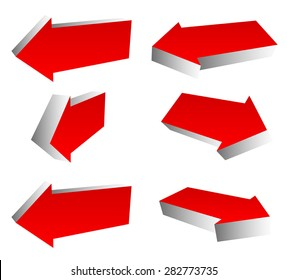 Set of 3d red arrows in different directions. Left and right arrows.