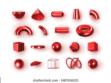 Set of 3d red Geometric Shapes Objects. Realistic geometry elements isolated on white background, on metallic color gradient. Render Decorative burgundy figure for design. vector illustration