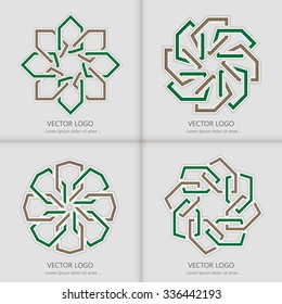 Set of 3d round geometric logo template with islamic design