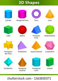 set 3D shapes vocabulary in english with their name clip art collection for child learning, colorful geometric shapes flash card of preschool kids, simple symbol geometric 3d shapes for kindergarten