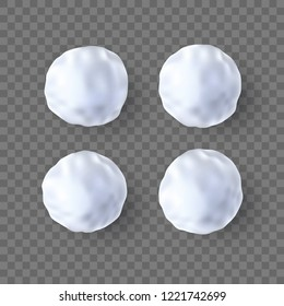 Set of 3d snow ball, vector illustration.