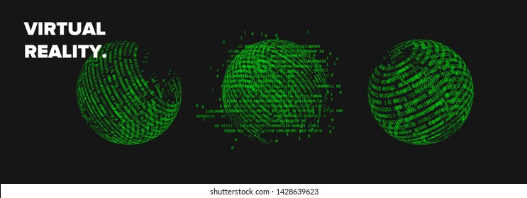 Set of 3d spheres made of binary code, concept of virtual reality. Collection of vector elements for logotype, poster, cover design.