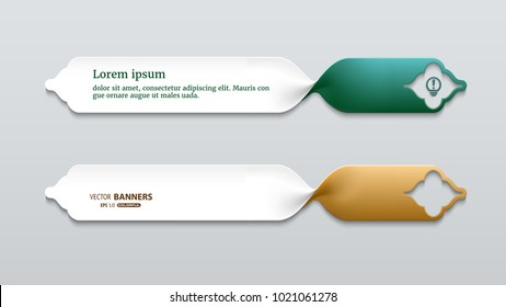 Set of 3d twisted ribbon banners, labels template for sale