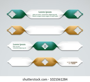 Set of 3d twisted ribbon banners, labels templates for sale