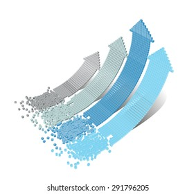 Set of 3d vector bended arrows with perspective pointing to the up right, consisted from small cubic elements, isolated on white background, business vector background, infographic diagram elements