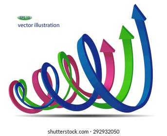 Set of 3d vector bended arrows with perspective pointing to the up right, smooth, spiral, green, red and blue, isolated on white background, business vector background, infographic diagram elements