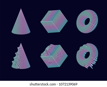 Set of 3D vector geometric shapes cone, cube and torus with holographic gradient and glitch version of every shape.