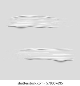 Set of 3d vector white paint brush strokes. Hand drawn painted textured banners. Vector design elements.