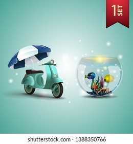 Set of 3D volumetric summer icons for your arts, scooter with a beach umbrella and round aquarium with fish