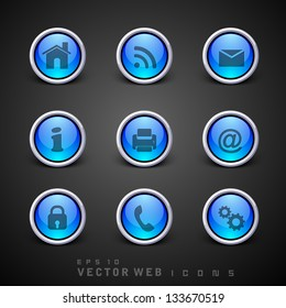 Set of 3D web 2.0 icons for web applications, Internet & website icons and social networking icons or buttons.