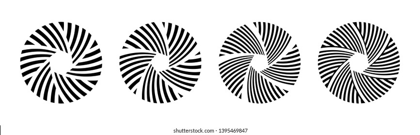 Set of 4 abstract circular ornament isolated on white background. Camera lens aperture icon. Shutter icon. Zoom objective for photographer. Round striped patterns. Vector monochrome illustration.