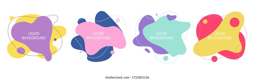 Set of 4 abstract graphic liquid elements in memphis style. Dynamical waves colored fluid shapes. Isolated banners with flowing liquids. Template for the design of a logo, flyer or presentation.
