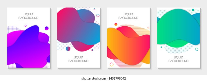 Set of 4 abstract modern graphic liquid elements. Dynamical different vivid colored fluid forms. Isolated banners with flowing liquid shapes. Template for the design of a logo, flyer or presentation.