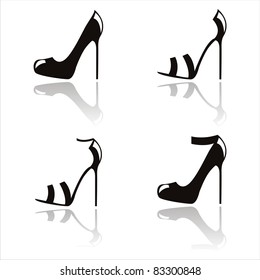 set of 4 abstract shoes silhouettes