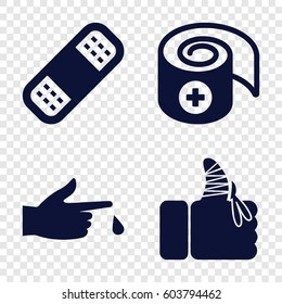 Set of 4 accident filled icons such as bandage