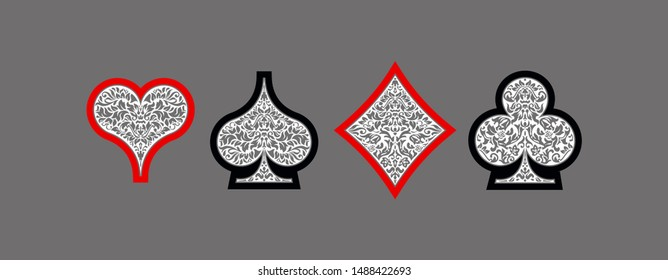 Set 4 aces Playing card suits icons decoration pattern: diamonds, clovers, hearts spades template on gray background. Vintage Playing card suit ornament symbol pictogram ace casino for play poker game
