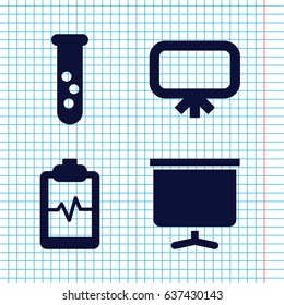 Set of 4 analysis filled icons such as board, heartbeat clipboard
