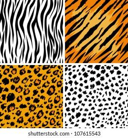 Set of 4 animal skins, seamless patterns