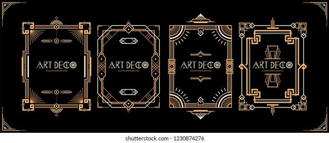 Set of 4 Art Deco frames. Vintage style borders. Wedding invitations retro backgrouns.